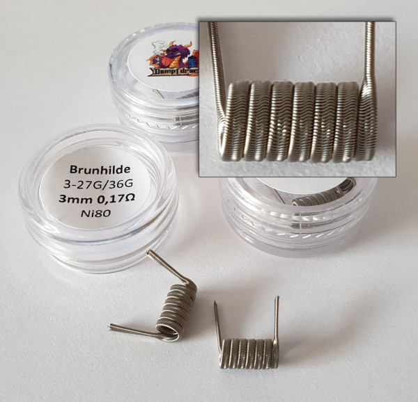 Brunhilde coils 3-27G / 36G Ni80 7 Wraps 3mm 0,17 Ohm